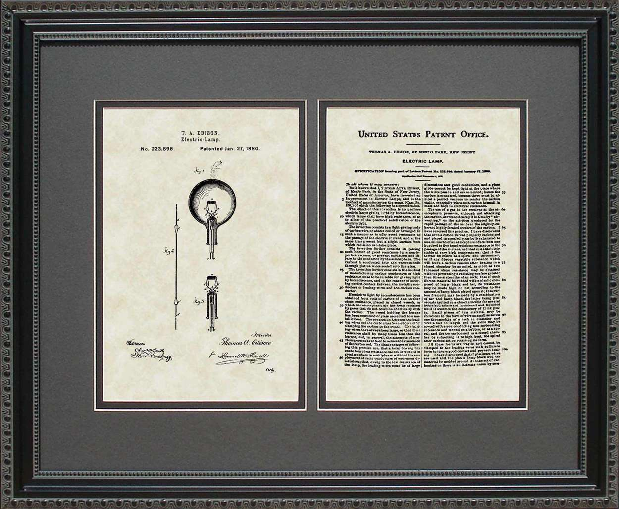 Light Bulb Patent, Art & Copy, Edison, 1880, 16x20