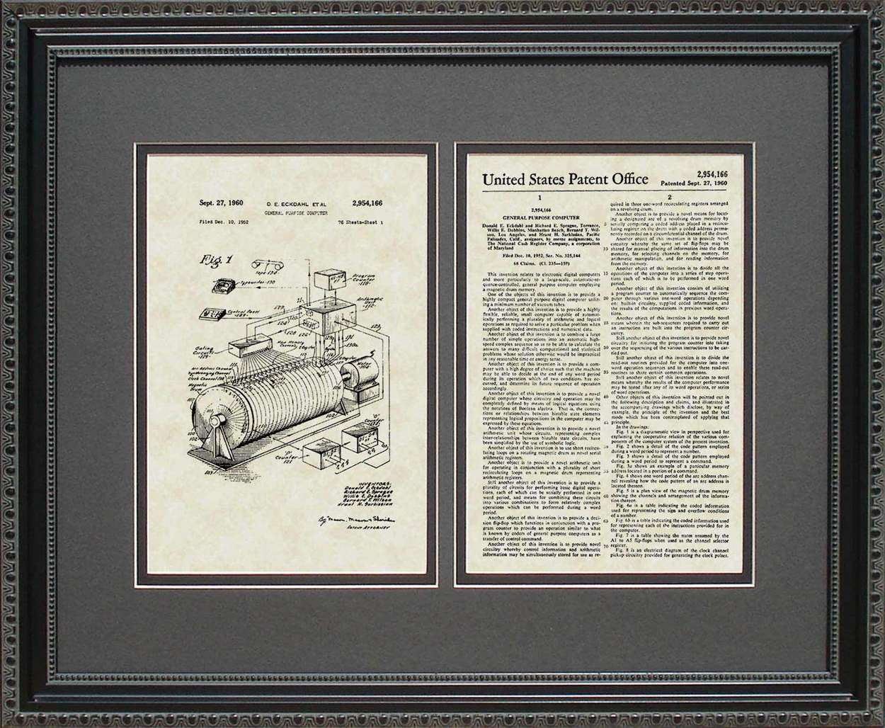 Early Computer Patent, Art & Copy, Eckdahl, 1960, 16x20
