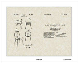 Modern Chair Patent, Art & Copy, Eames, 1949, 16x20