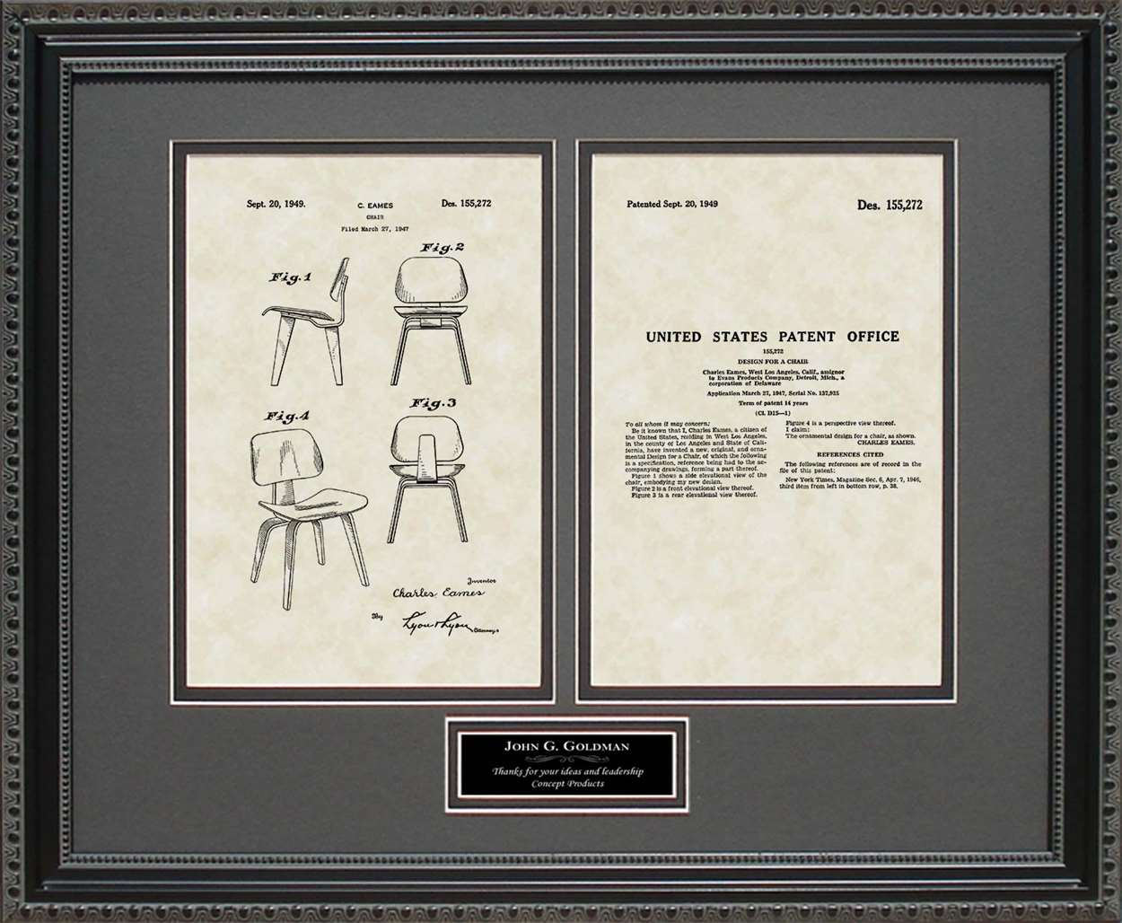 Personalized Modern Chair Patent, Art & Copy, Eames, 1949