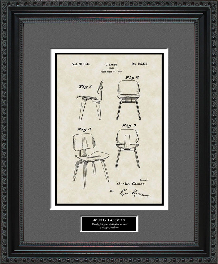 Personalized Modern Chair Patent Art, Eames, 1949