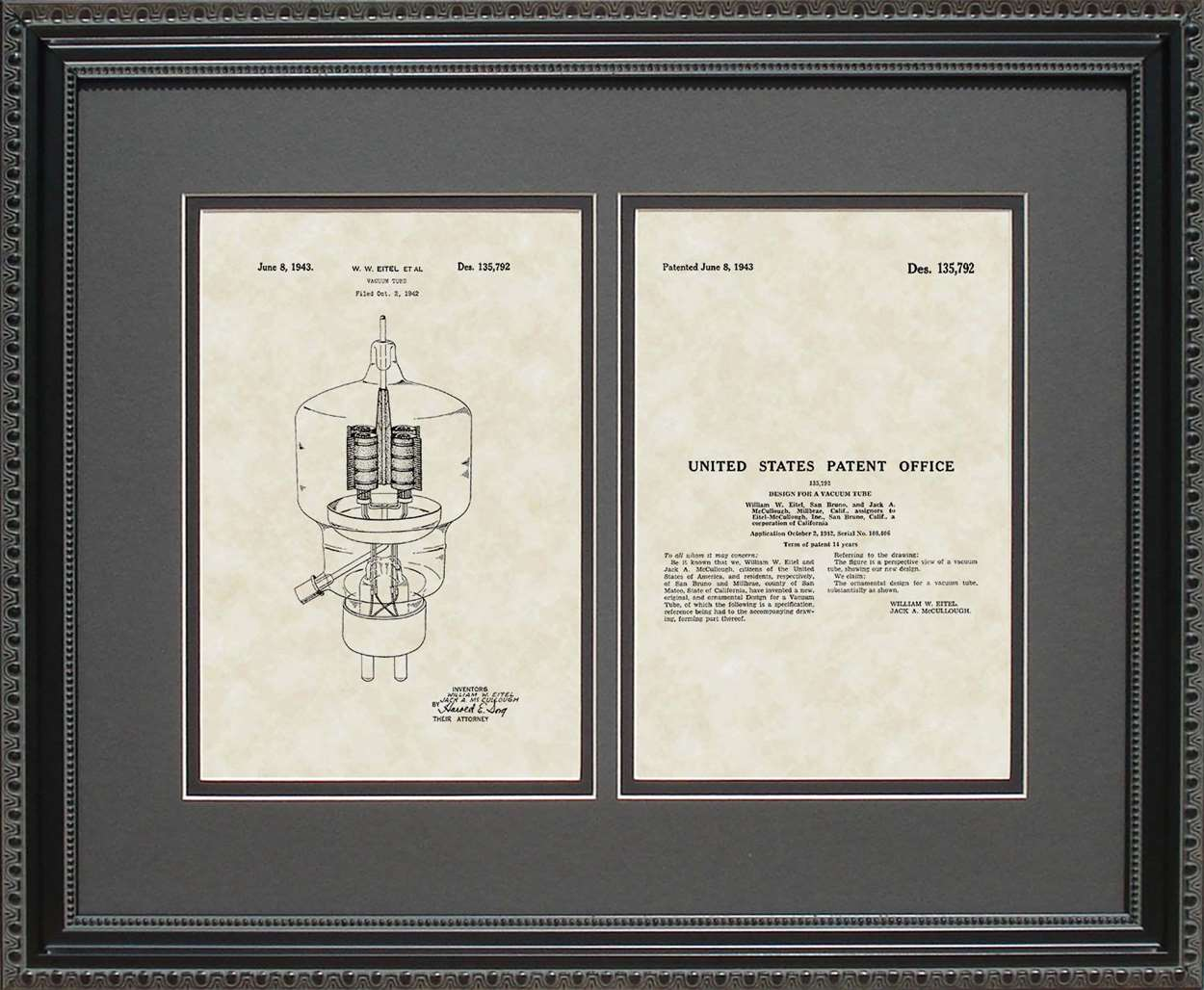 Vacuum Tube Patent, Art & Copy, Eitel, 1943, 16x20