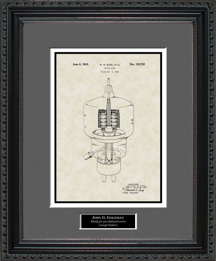 Personalized Vacuum Tube Patent Art, Eitel, 1943