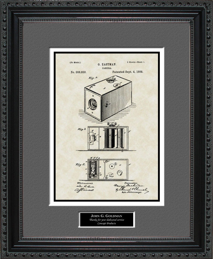 Personalized Camera Patent Art, Eastman, 1888