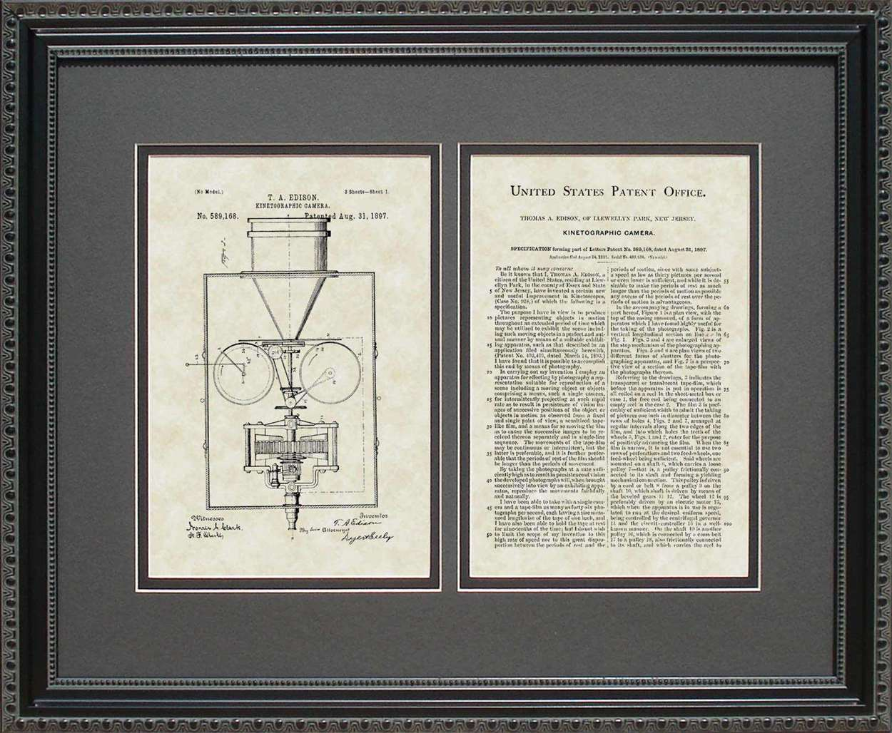 Movie Camera Patent, Art & Copy, Edison, 1897, 16x20