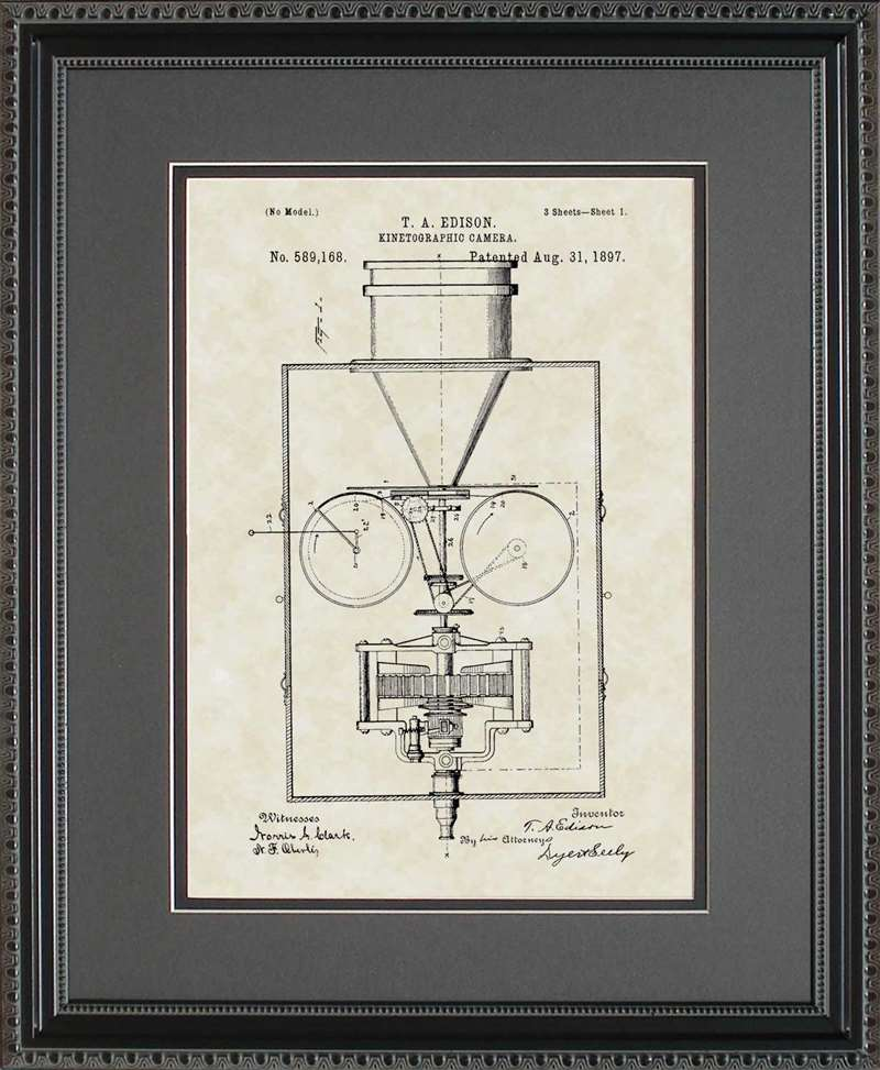 Movie Camera Patent Art, Edison, 1897