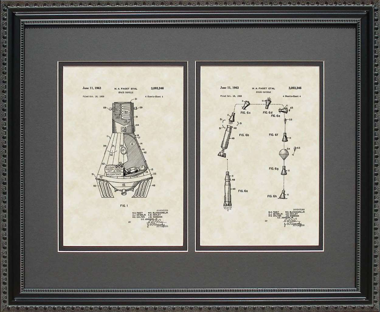Space Capsule Patent, Art & Copy, Fagel, 1963, 16x20