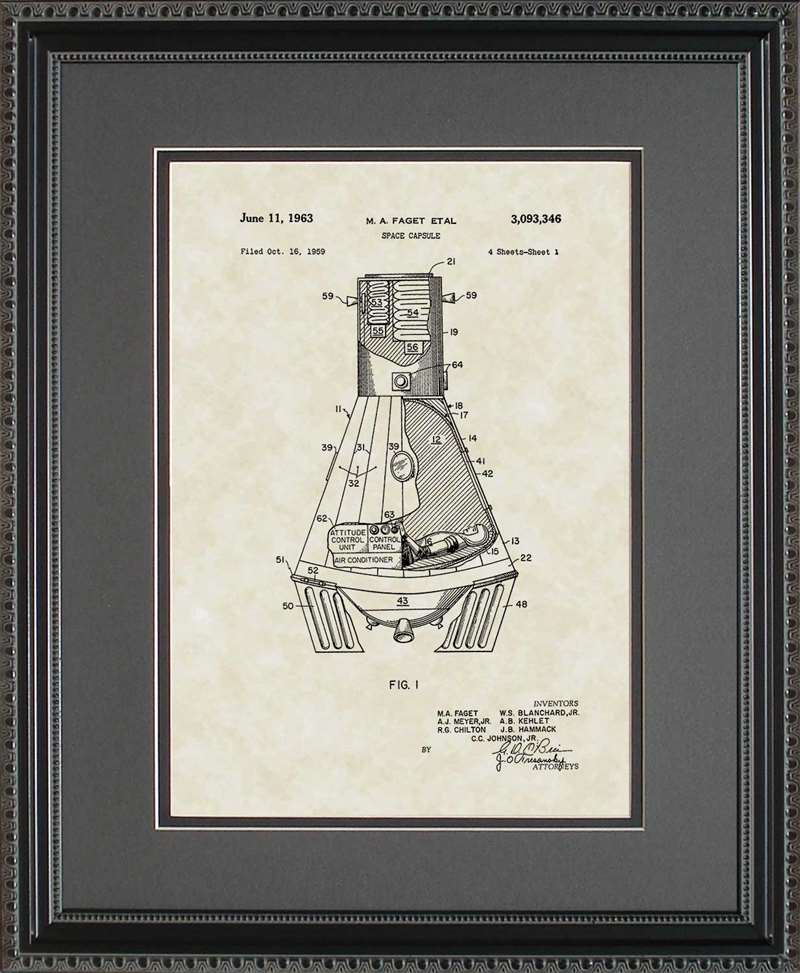 Space Capsule Patent Art, Fagel, 1963