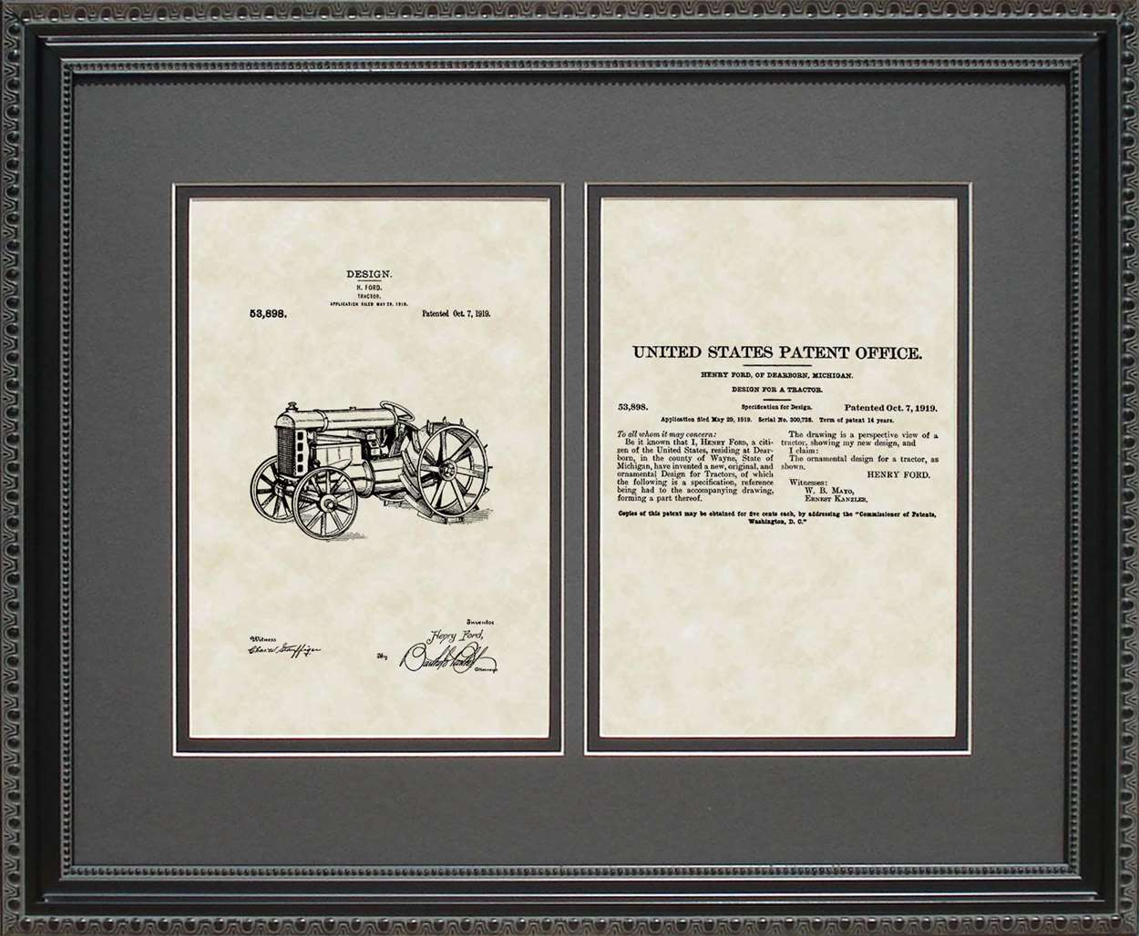 Tractor Patent, Art & Copy, Ford, 1919, 16x20