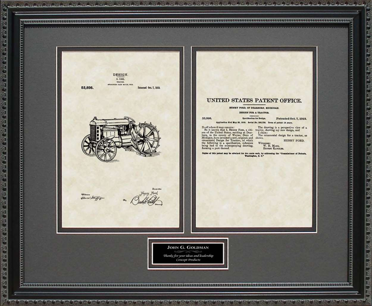 Personalized Tractor Patent, Art & Copy, Ford, 1919