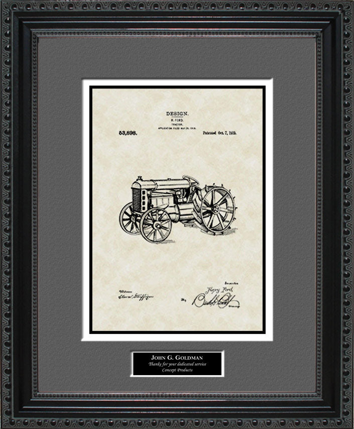 Personalized Tractor Patent Art, Ford, 1919