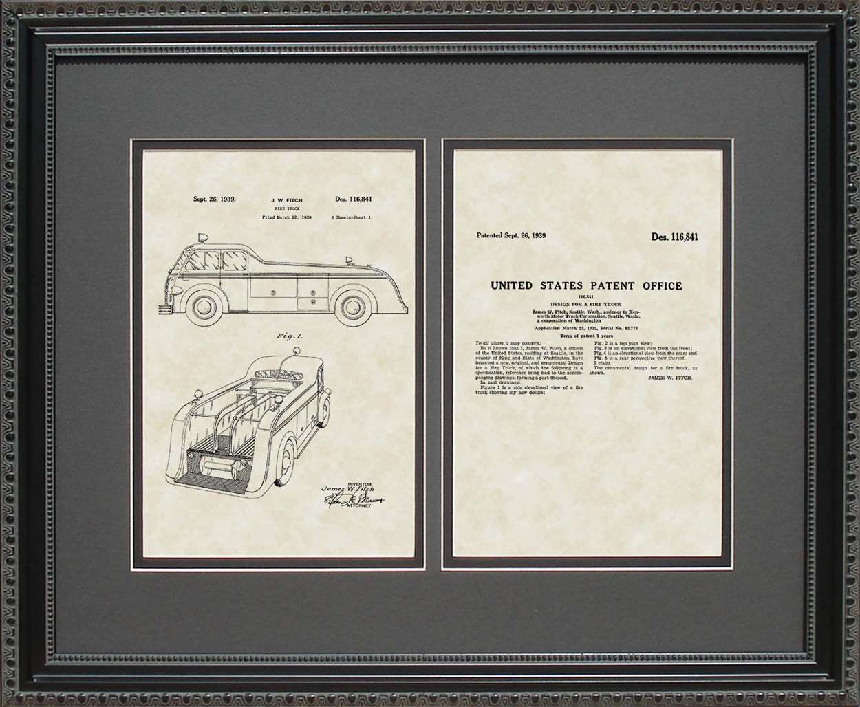 Fire Truck Patent, Art & Copy, Fitch, 1939, 16x20