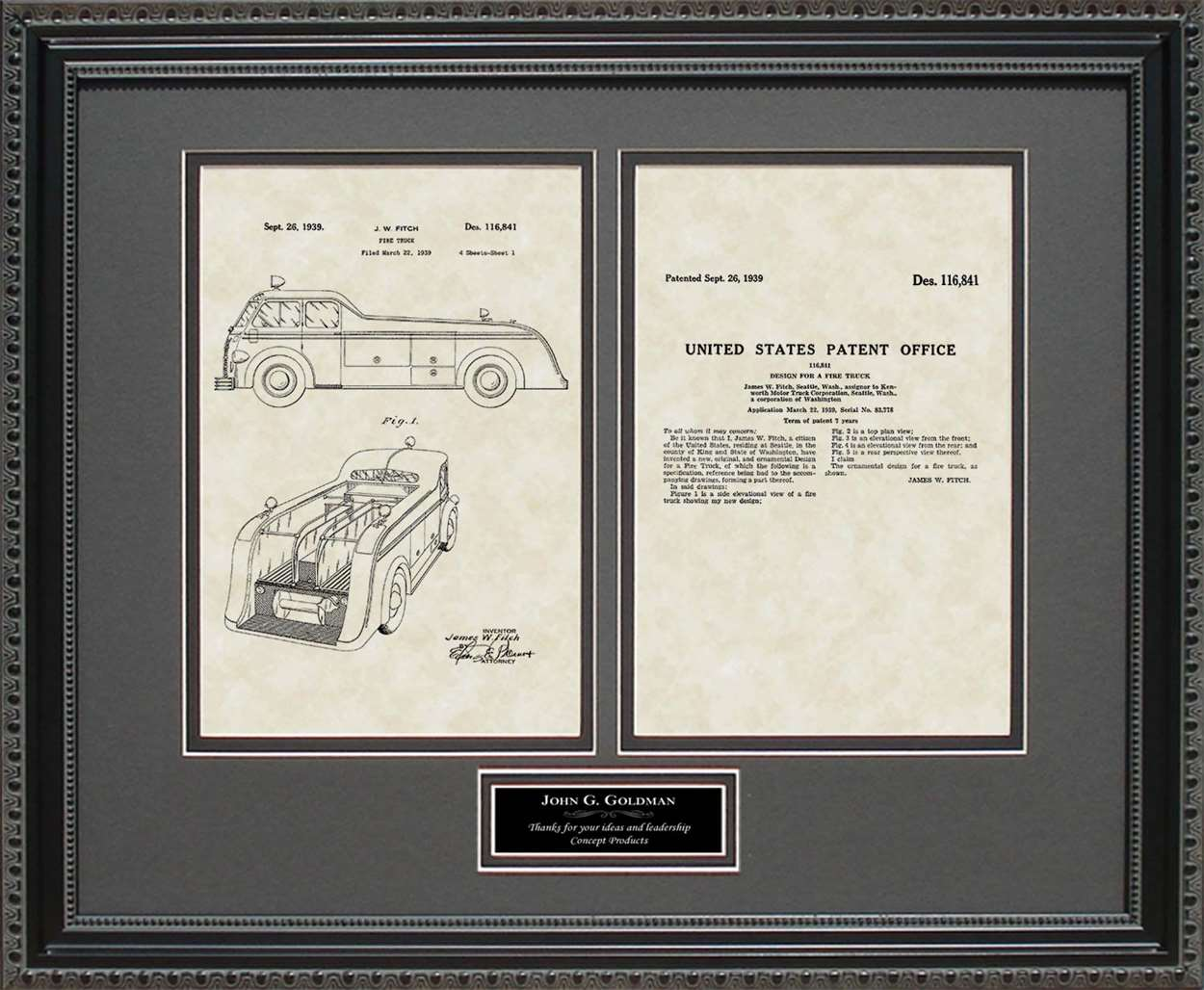 Personalized Fire Truck Patent, Art & Copy, Fitch, 1939