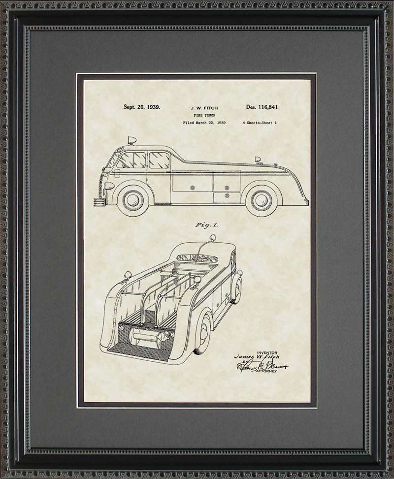 Fire Truck Patent Art, Fitch, 1939