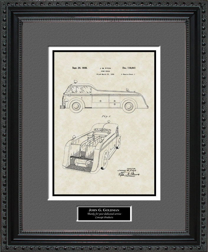 Personalized Fire Truck Patent Art, Fitch, 1939