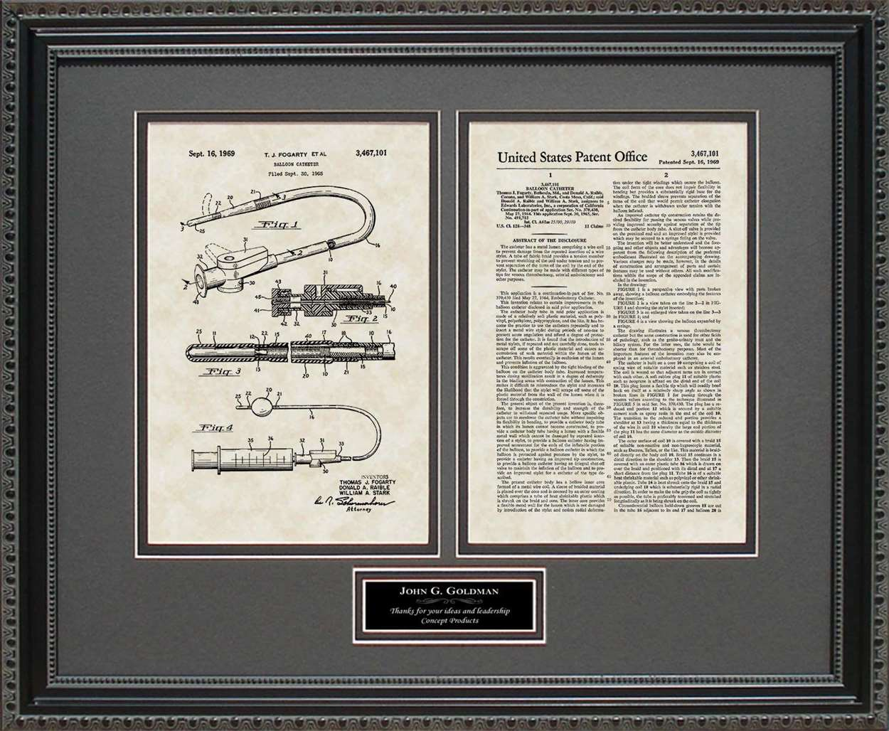 Personalized Balloon/Embolectomy Catheter Patent, Art & Copy, Fogarty, 1965