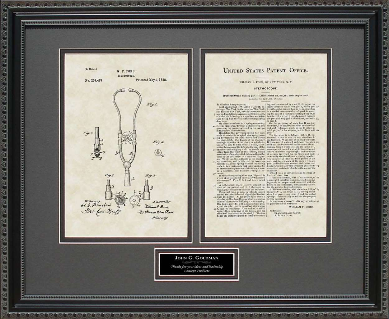 Personalized Stethoscope Patent, Art & Copy, Ford, 1881
