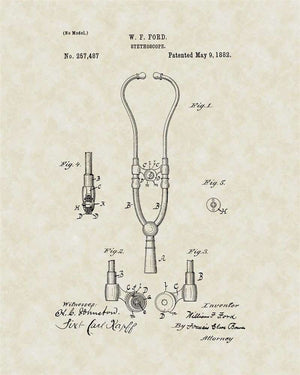 Stethoscope Patent Art, Ford, 1881