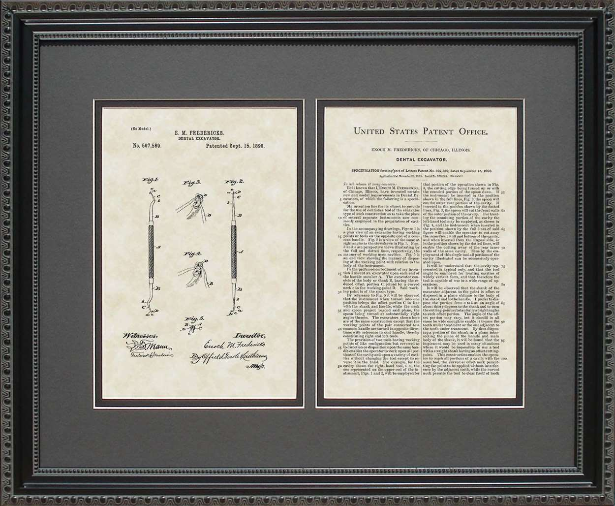 Dental Currette Patent, Art & Copy, Fredericks, 1896, 16x20