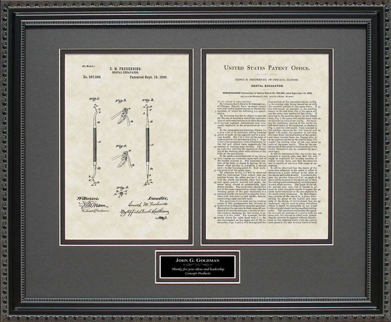 Personalized Dental Currette Patent, Art & Copy, Fredericks, 1896 16 X 20