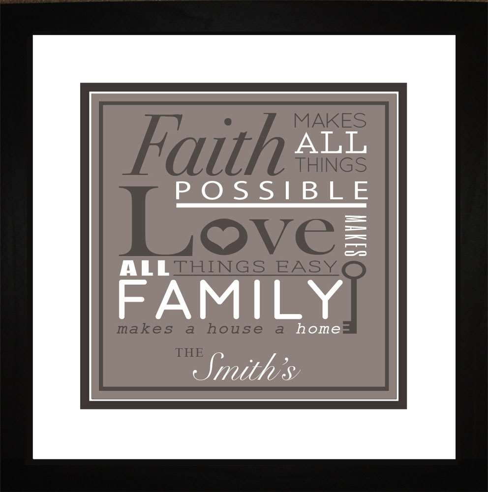 Faith, Love, Family Personalized Art, 16x16