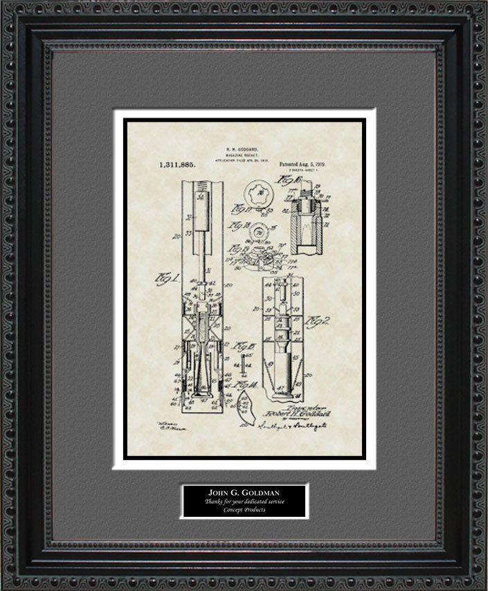 Personalized Rocket Patent Art, Goddard, 1919