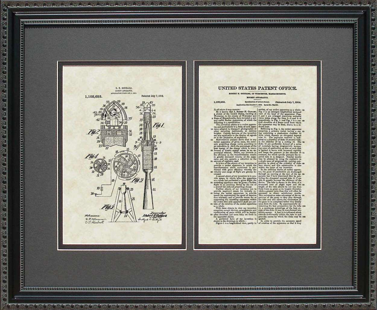 Rocket Patent, Art & Copy, Goddard, 1914, 16x20