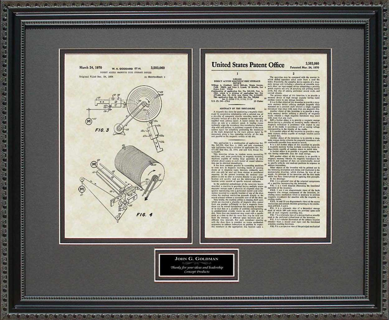 Personalized Disk Drive Patent, Art & Copy, Goddard, 1970
