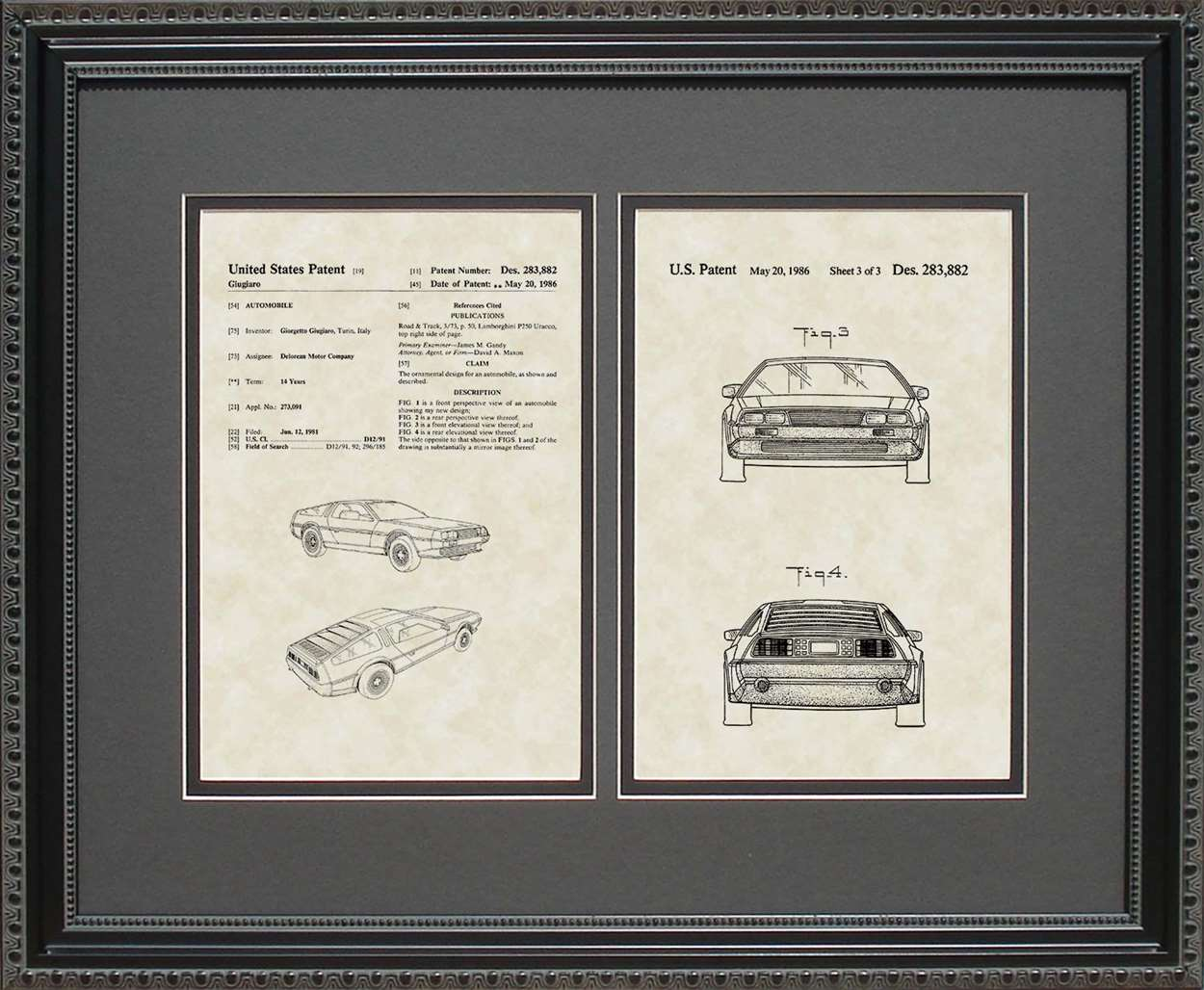 Delorean Auto Patent, Art & Copy, Giugiaro, 1986, 16x20