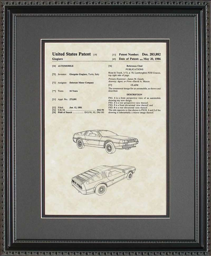 Delorean Auto Patent Art, Giugiaro, 1986