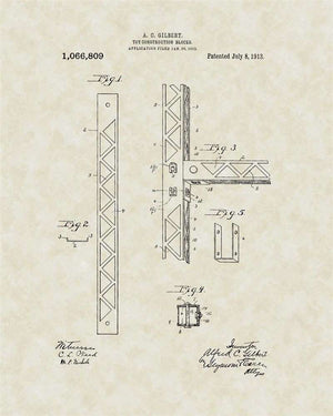 Erector Set Patent Art, Gilbert, 1913