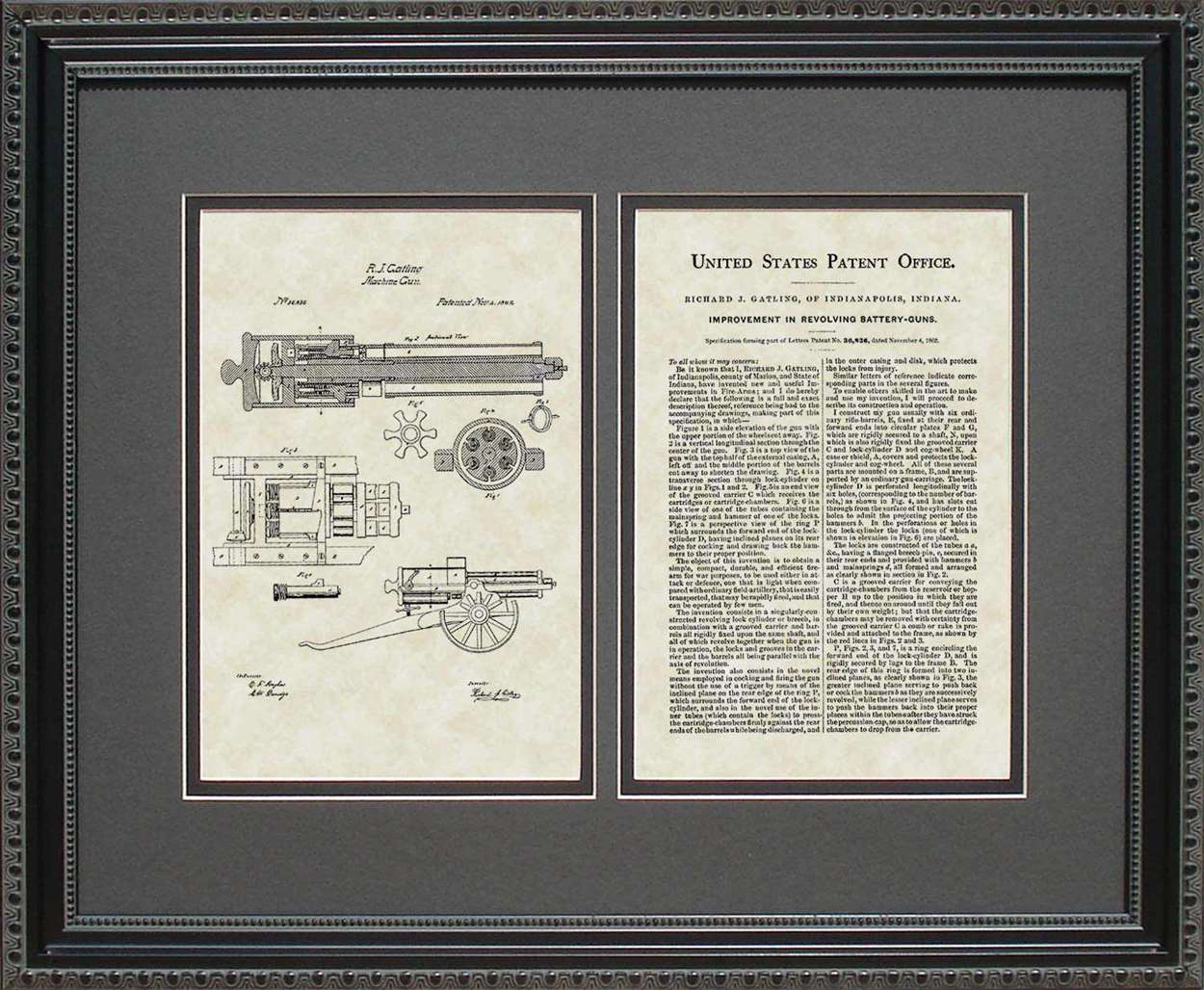 Gatling Gun Patent, Art & Copy, Gatling, 1862, 16x20