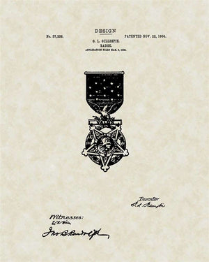 Medal of Honor Decoration Patent Art, Gillespie, 1904
