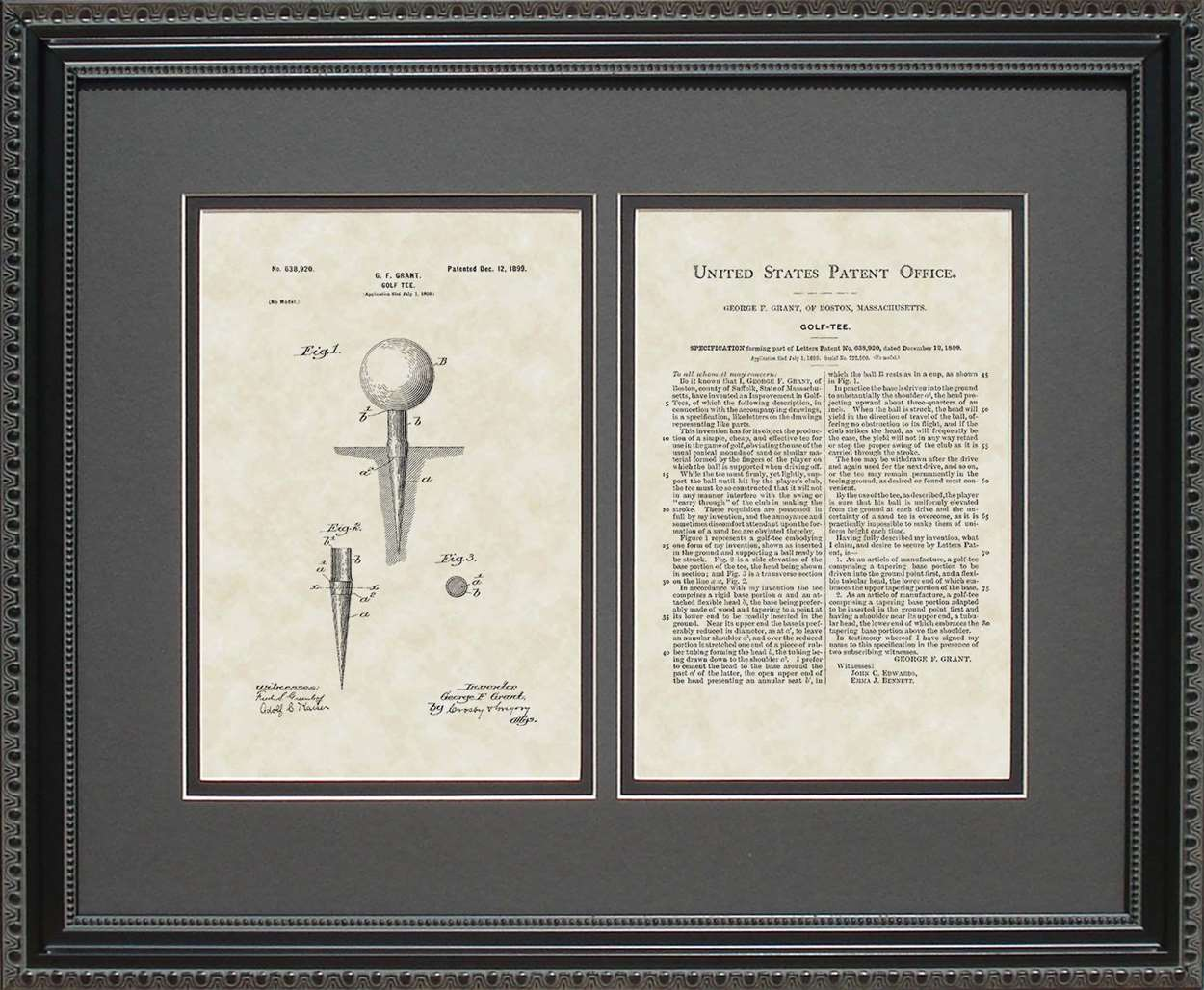 Golf Tee Patent, Art & Copy, Grant, 1899, 16x20