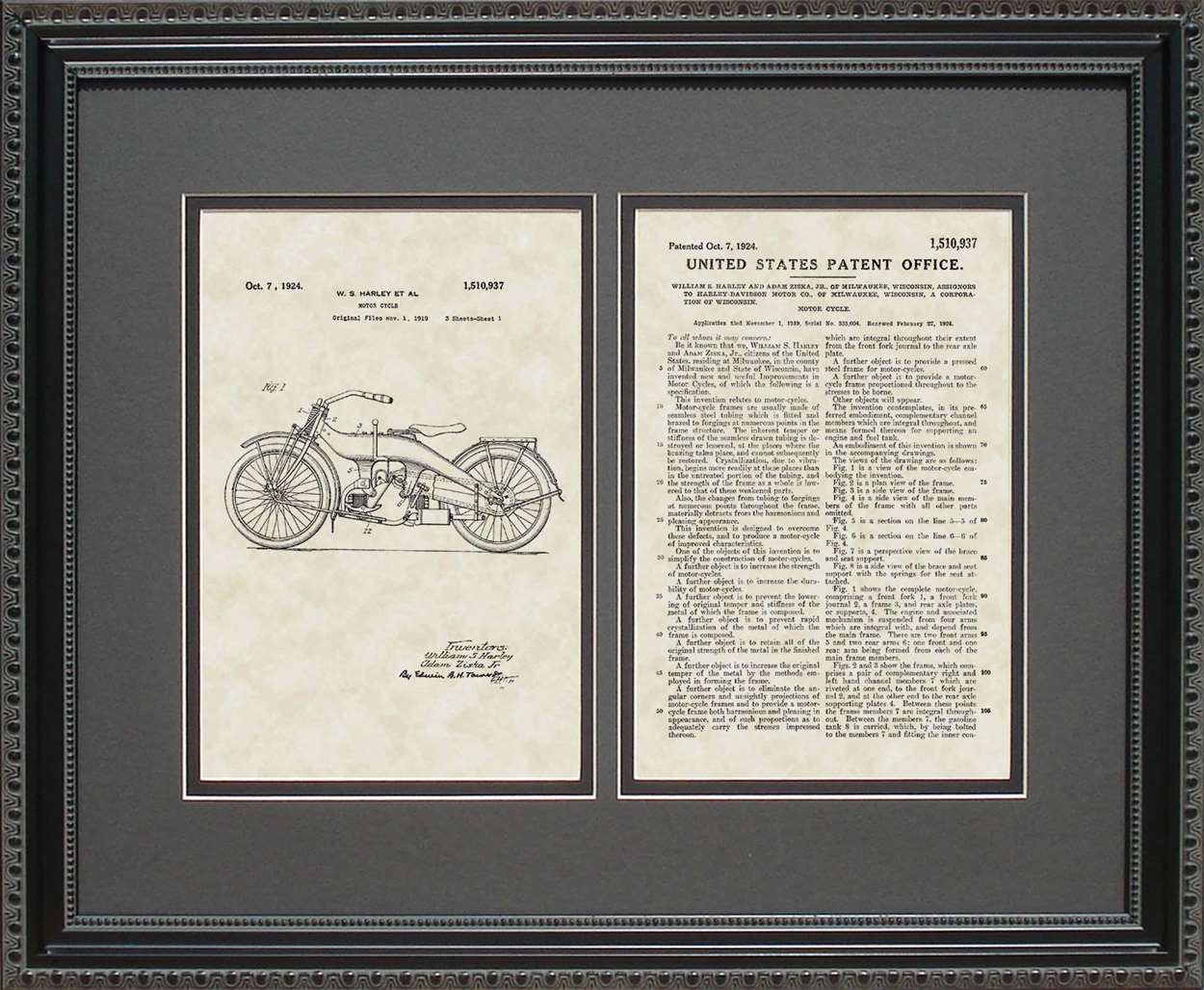 Motorcycle Patent, Art & Copy, Harley, 1924, 16x20