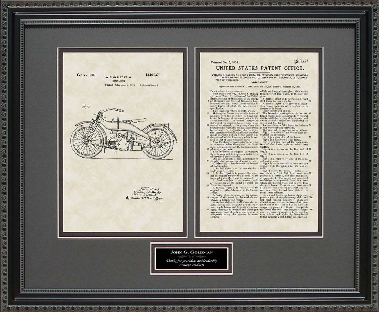 Personalized Motorcycle Patent, Art & Copy, Harley, 1924