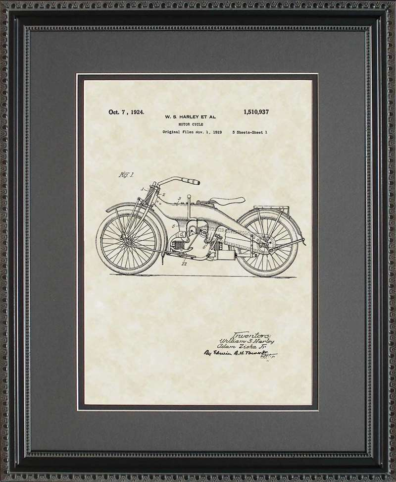 Motorcycle Patent Art, Harley, 1924