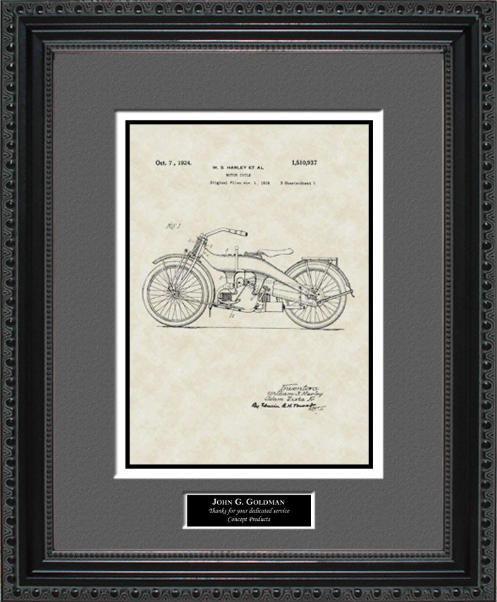 Personalized Motorcycle Patent Art, Harley, 1924