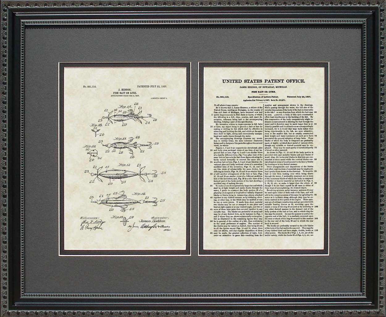 Fish Lure Patent, Art & Copy, Heddon, 1907, 16x20