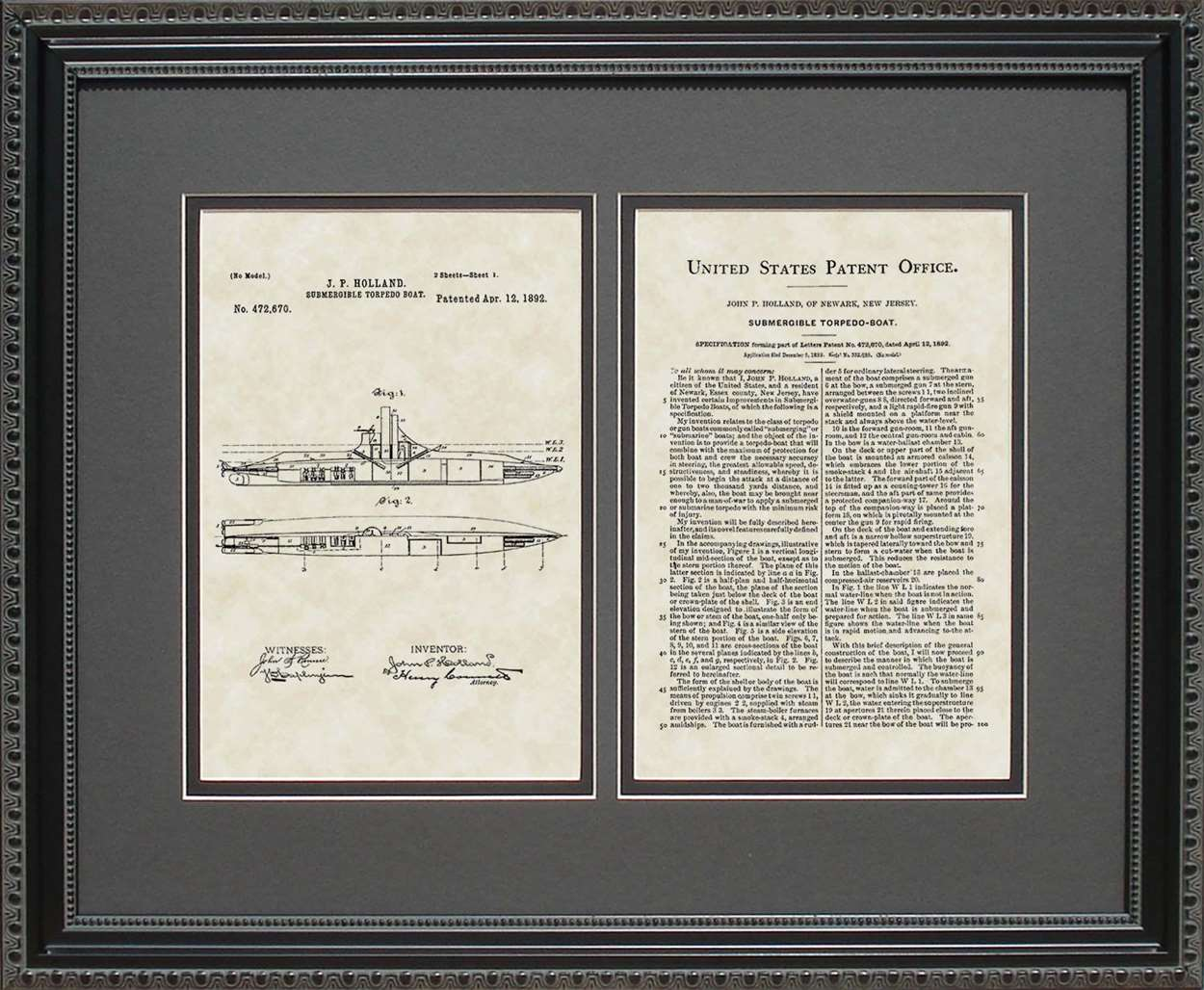 Submarine Patent, Art & Copy, Holland, 1892, 16x20