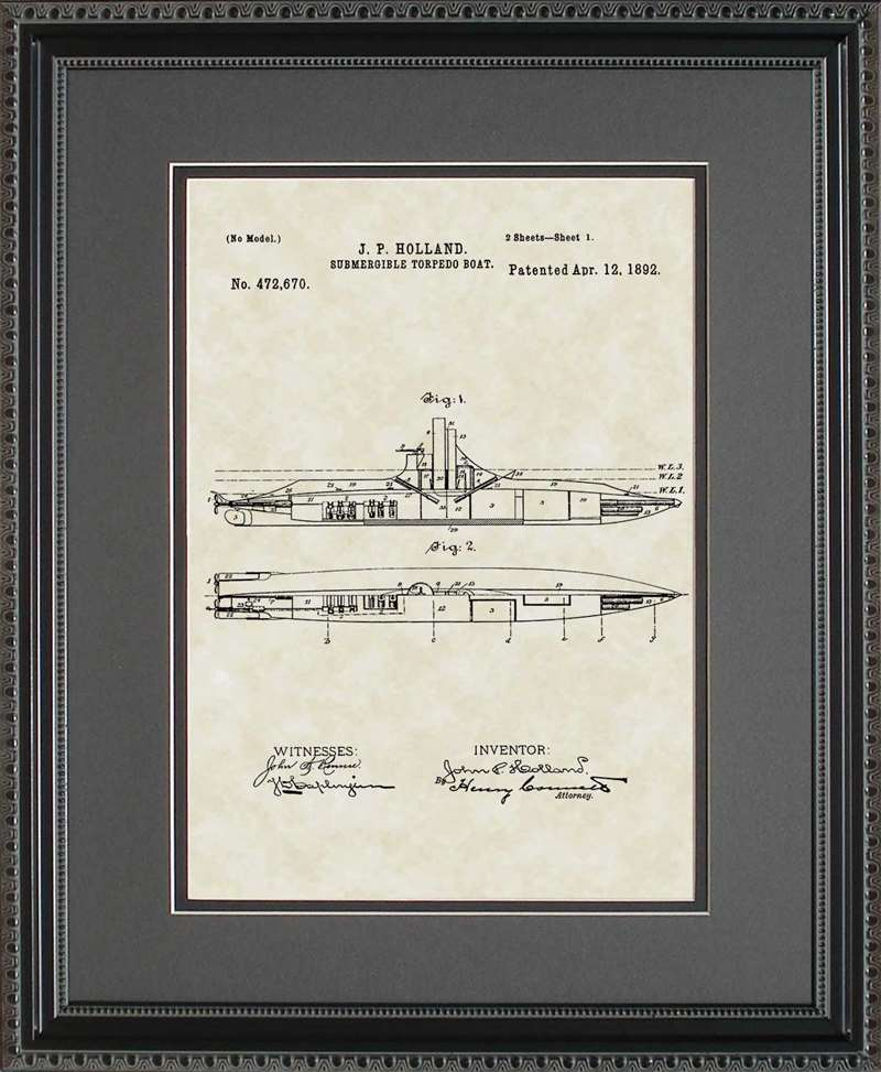 Submarine Patent Art, Holland, 1892