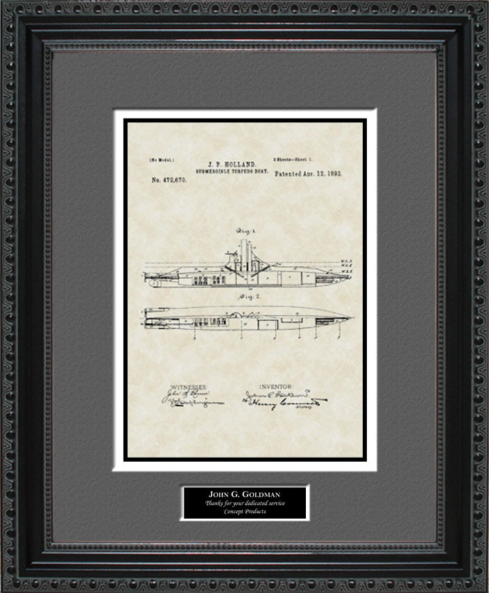 Personalized Submarine Patent Art, Holland, 1892