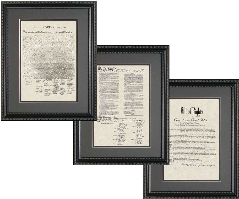 United States Declaration of Independence, Bill of Rights, & Constitution, 16x20