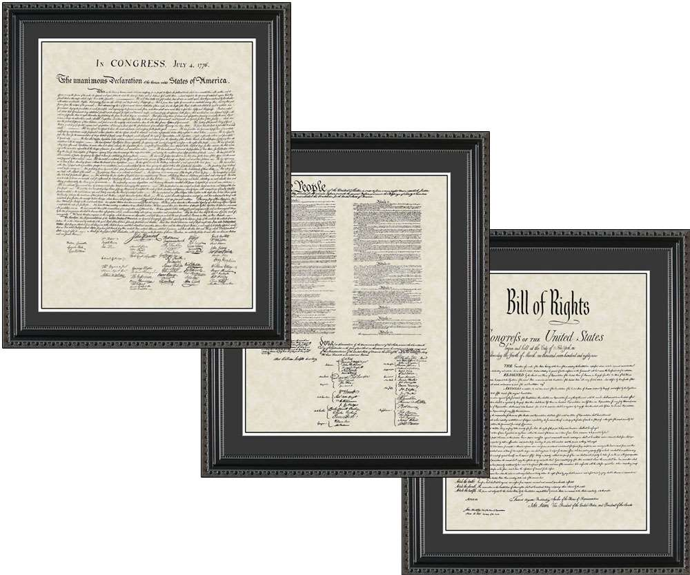 United States Declaration of Independence, Bill of Rights, & Constitution, 20x24