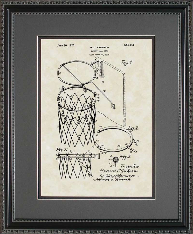Basketball Goal Patent Art, Harrison, 1925