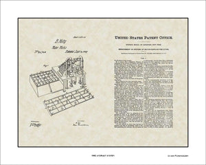 Fire Hydrant System Patent, Art & Copy, Holly, 1869, 16x20