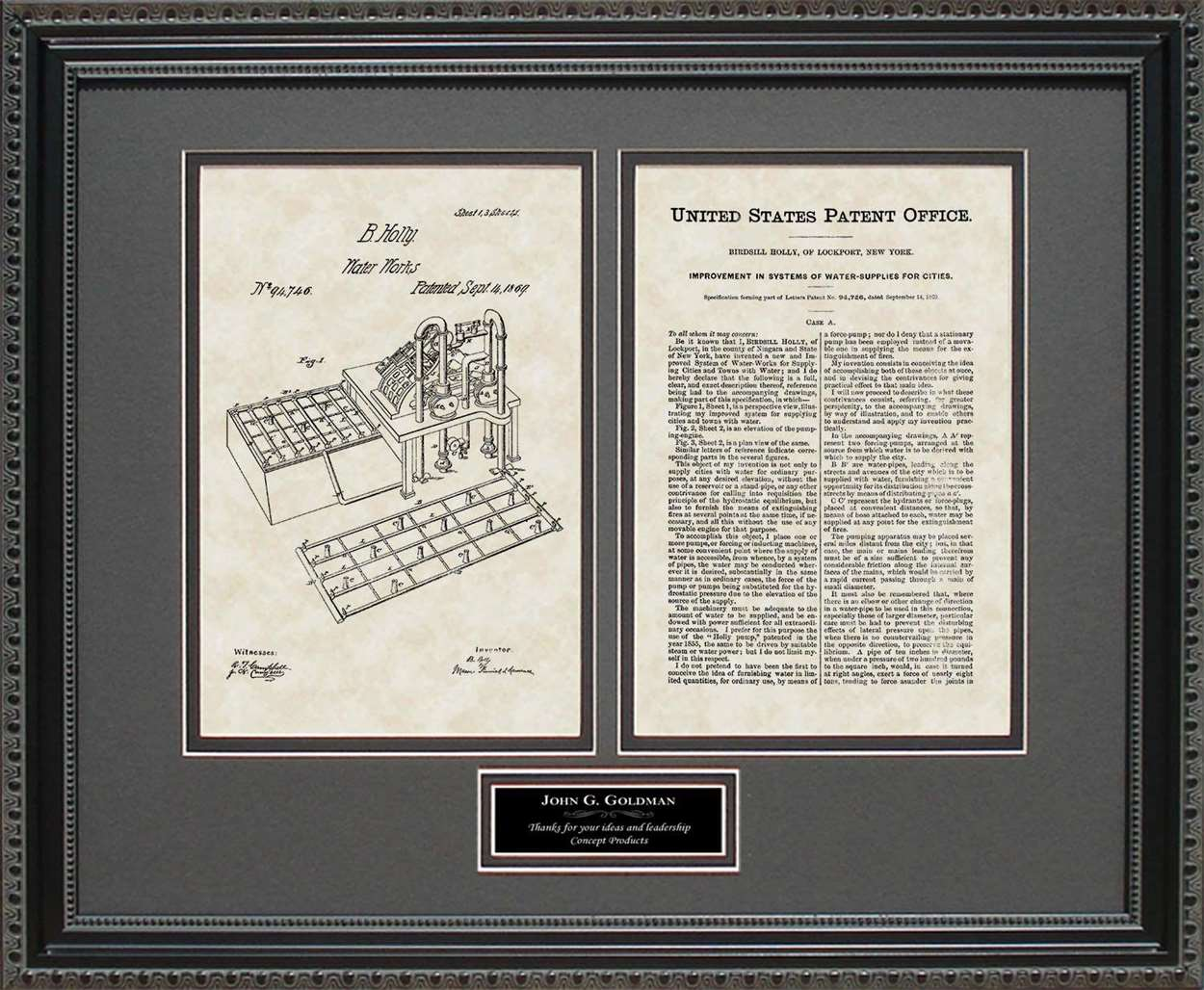 Personalized Fire Hydrant System Patent, Art & Copy, Holly, 1869