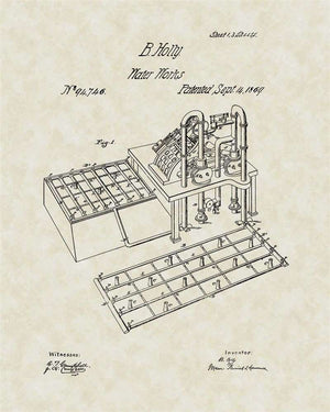 Fire Hydrant System Patent Art, Holly, 1869