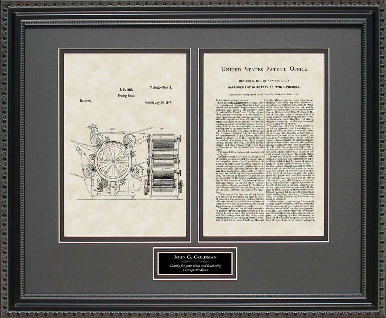 Personalized Printing Press Patent, Art & Copy, Hoe, 1847
