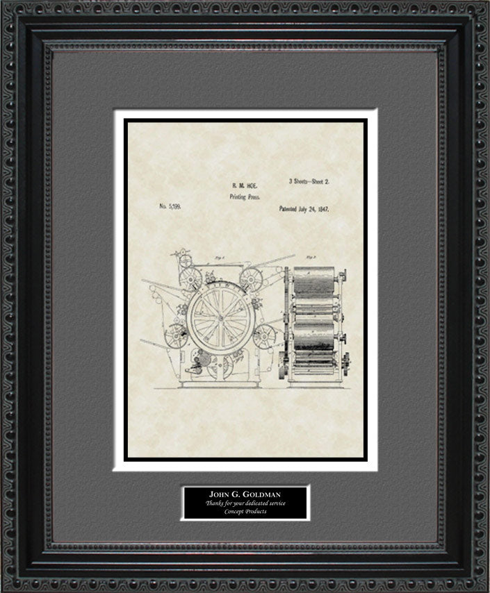 Personalized Printing Press Patent Art, Hoe, 1847